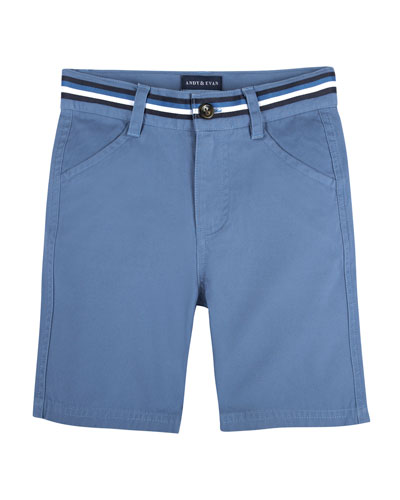Cotton-Stretch Mock Belt Shorts, Size 2-7