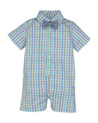 Collared Check Shortall w/ Chambray Bow Tie, Size 3-24 Months