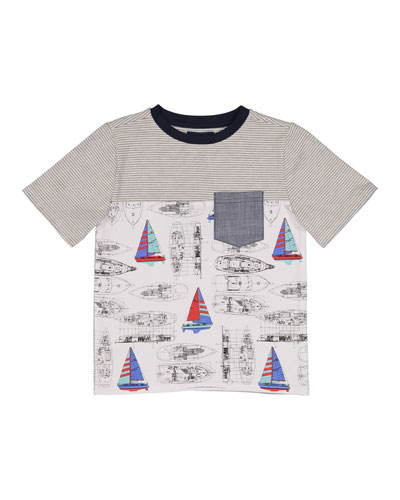 Vintage Sailboat T-Shirt w/ Chambray Pocket, Size 2-7