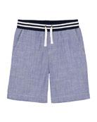 Chambray Drawstring Jogger Shorts, Size 9-24 Months