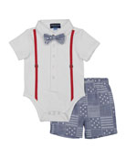 Polo Shirtzie™ w/ Stars & Stripes Shorts, Size 3-24 Months