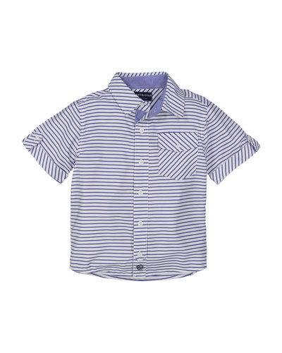 Short-Sleeve Striped Collared Shirt, Size 2-7