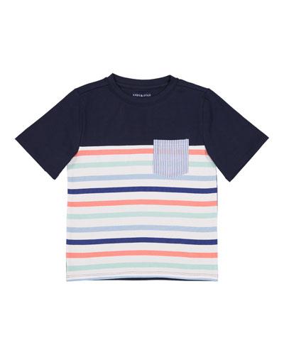 Short-Sleeve Stripe Pocket Tee, Size 2-7