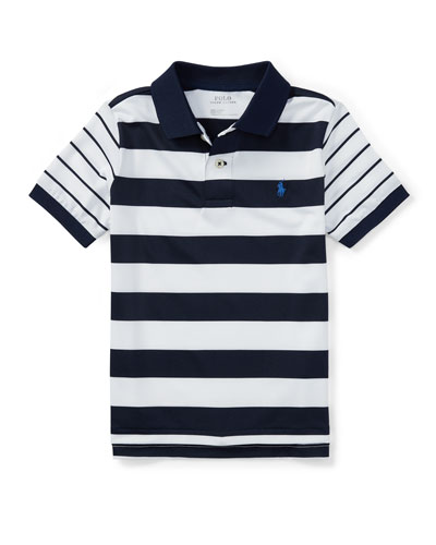 Lisle Multi-Stripe Short-Sleeve Polo, Size 2-4T