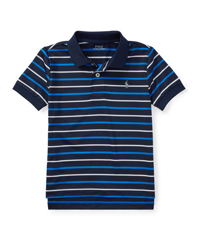 Lisle Striped Short-Sleeve Polo, Size 2-4T