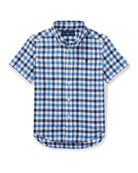 Short-Sleeve Check Performance Oxford Shirt, Size 2-4T