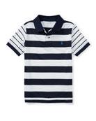 Lisle Multi-Stripe Short-Sleeve Polo, Size 5-7