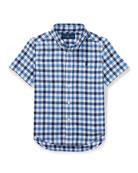 Short-Sleeve Check Performance Oxford Shirt, Size 5-7