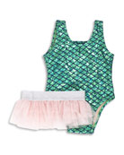 Metallic Mermaid Two-Piece Swimsuit w/ Ruffle Tulle Skirt, Size 6M-5