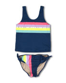 It's All Rainbows Two-Piece Tankini Swimsuit, Size 7-14