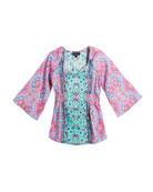 Portia Flare-Sleeve Printed Tunic, Size 2T-6X