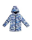Skipper Shark Hooded Raincoat, Size 3-6