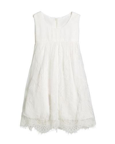 Lace Empire-Waist Sleeveless Dress, Size 12-18 Months