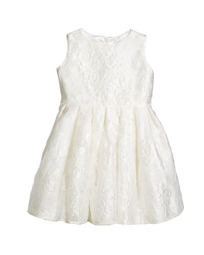 Rose Jacquard Organza Dress, Size 2-6