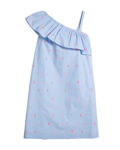 mini ice pops striped one-shoulder dress, size 7-14