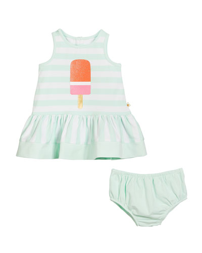 ice pop striped sleeveless dress w/ bloomers, size 12-24 months