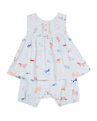 Striped Mix-Dog Sleeveless Romper, Size 0-24 Months
