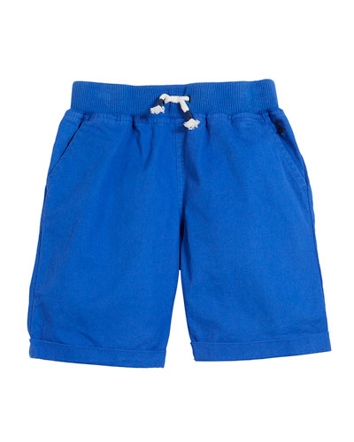Huey Cotton Drawstring Rolled-Cuff Shorts, Size 3-6