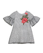 Zoe Embroidered Organza Bell-Sleeve Dress, Size 7-16