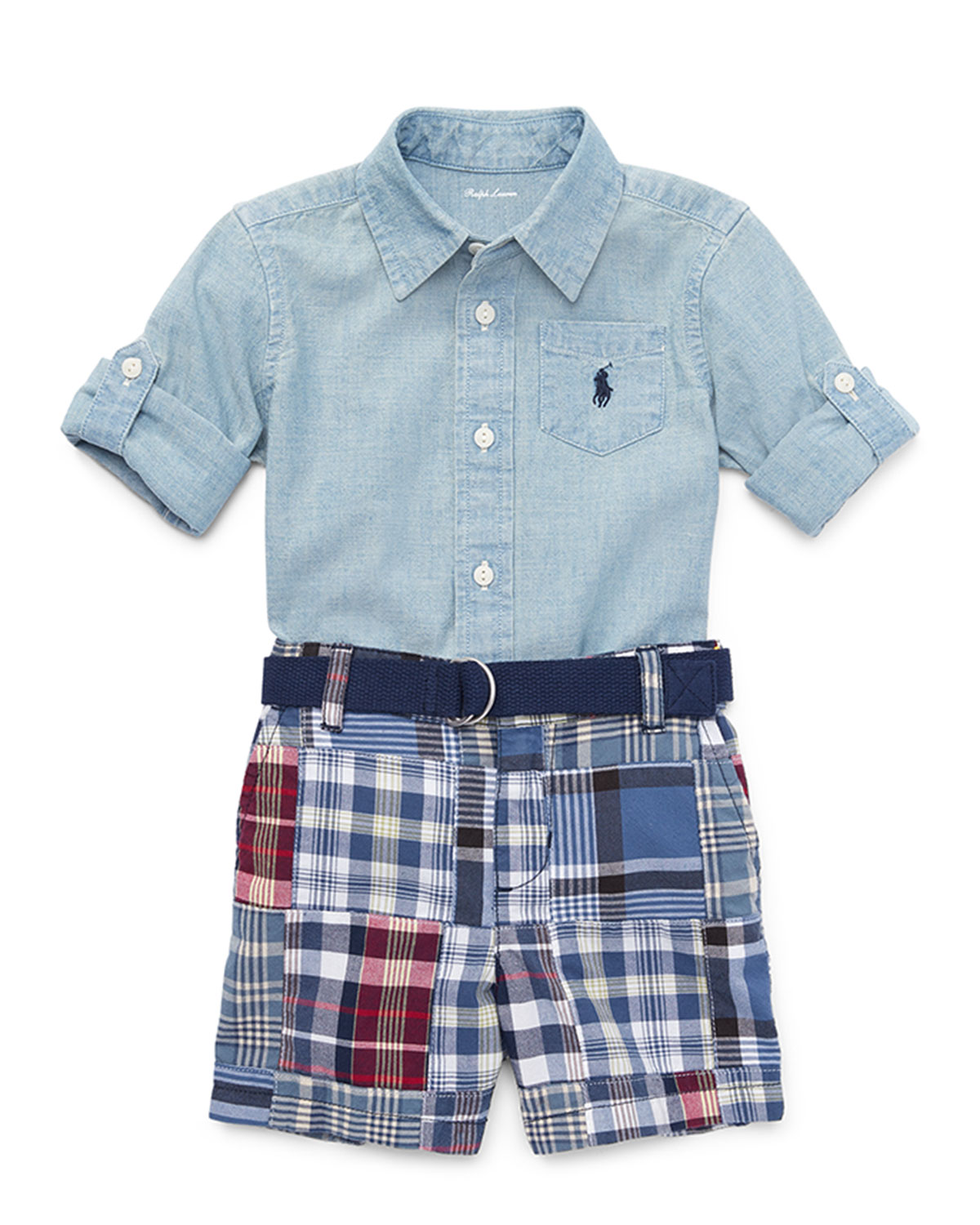Chambray Shirt w Patchwork Shorts Size 924 Months