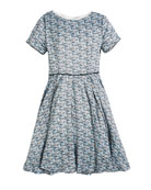 Helena Short-Sleeve Printed Dress, Size 2-6
