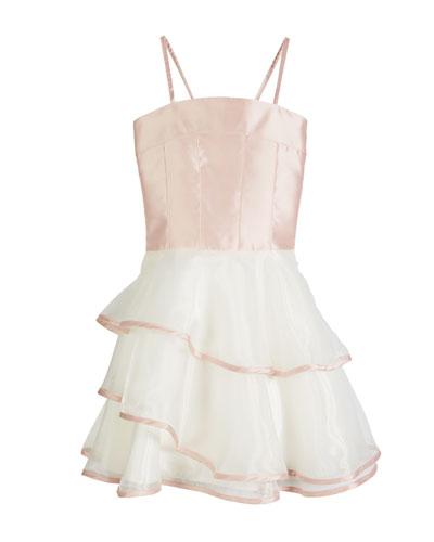Addison Spaghetti Strap Matte Sateen & Organza Dress, Size 7-16