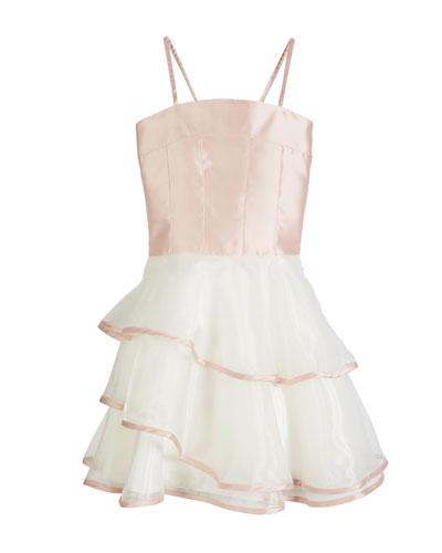 Addison Spaghetti Strap Matte Sateen & Organza Dress, Size 4-6X
