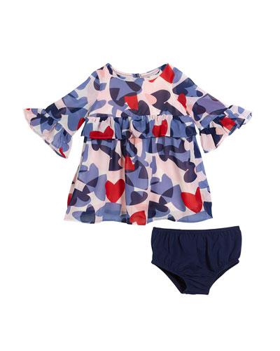 confetti heart long-sleeve dress w/ bloomers, size 12-18 months