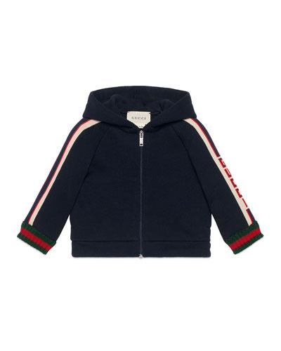 Hooded Logo Jacquard-Trim Jacket w/ Web Knit Cuffs, Size 6-36 Months