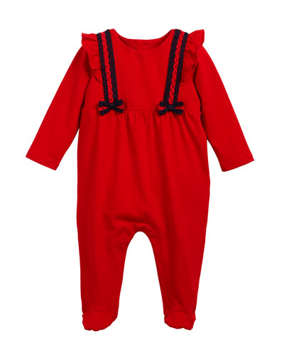 Lace Web-Trim Footie Pajamas, Size 0-9 Months