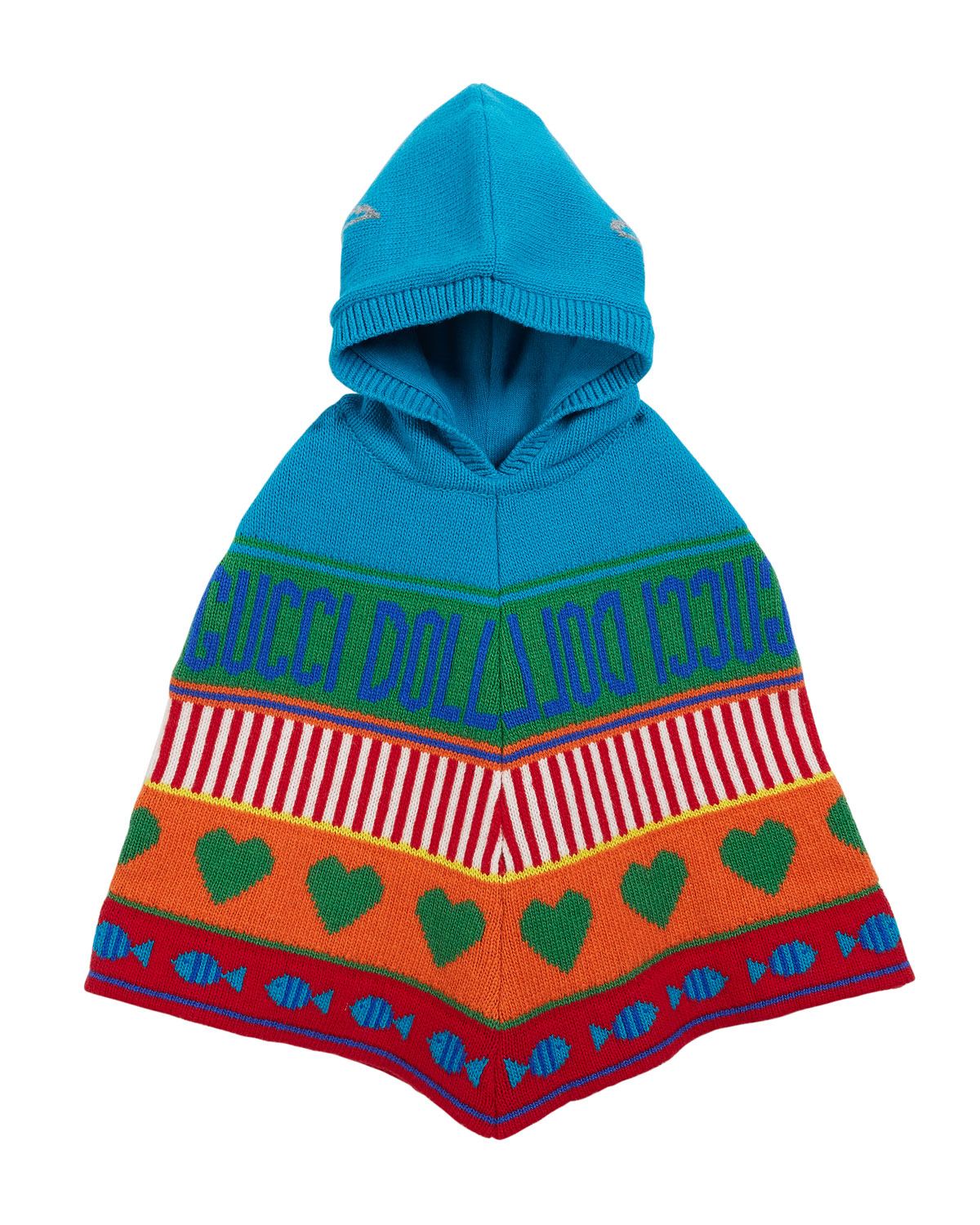 Rainbow Mixed-Jacquard Wool Hooded Poncho, Size 12-36 Months