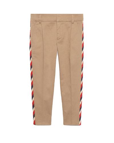 Stretch Gabardine Sylvie-Trim Pants, Size 4-12