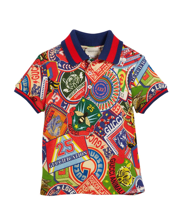 Logo Sticker-Print Polo Shirt w/ Knit Web Trim, Size 4-12