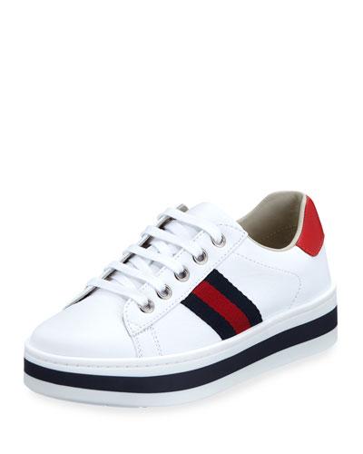 New Ace Web-Trim Leather Platform Sneakers, Kids