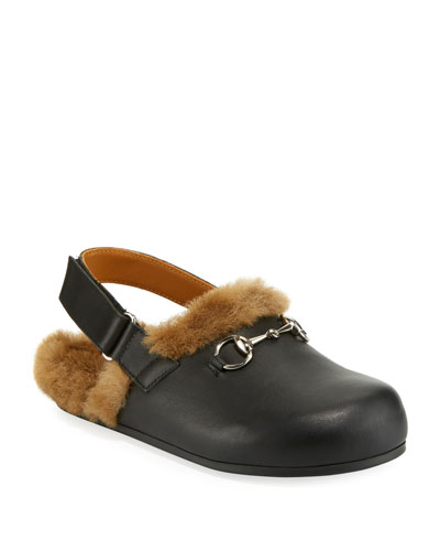 Leather Mule Slides w/ Faux Fur Lining, Toddler/Kids