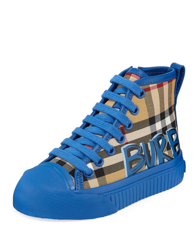 Kingly Graffiti-Logo Check High-Top Sneakers, Toddler