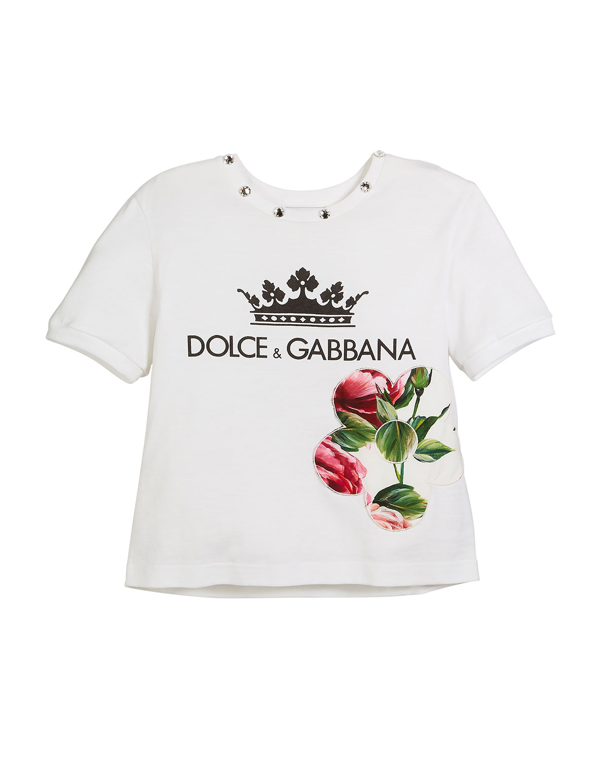 Crown D & G Logo Tee with Peony & Jewels, Kid Girls