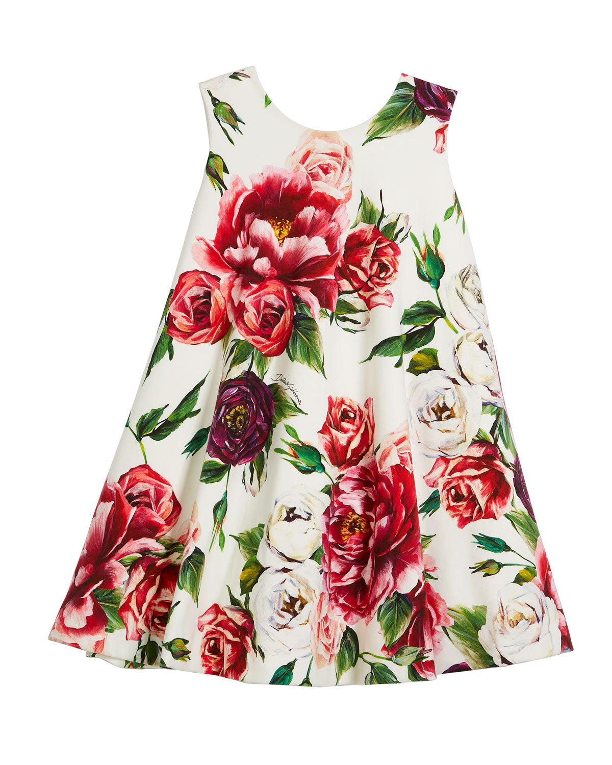 Peony-Print Jersey Swing Dress, Size 4-6