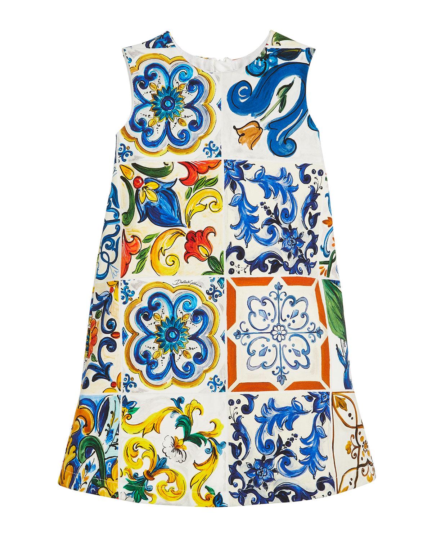 Maiolica-Print Sleeveless A-Line Dress, Size 4-6