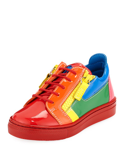 Rainbow Patent Leather Low-Top Sneakers, Toddler