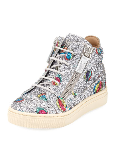 Glittered Balloon Leather High-Top Sneakers, Toddler/Kids