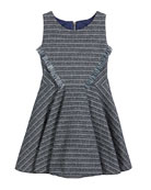 Zoe Mara Metallic Striped Fringe-Trim Swing Dress, Size