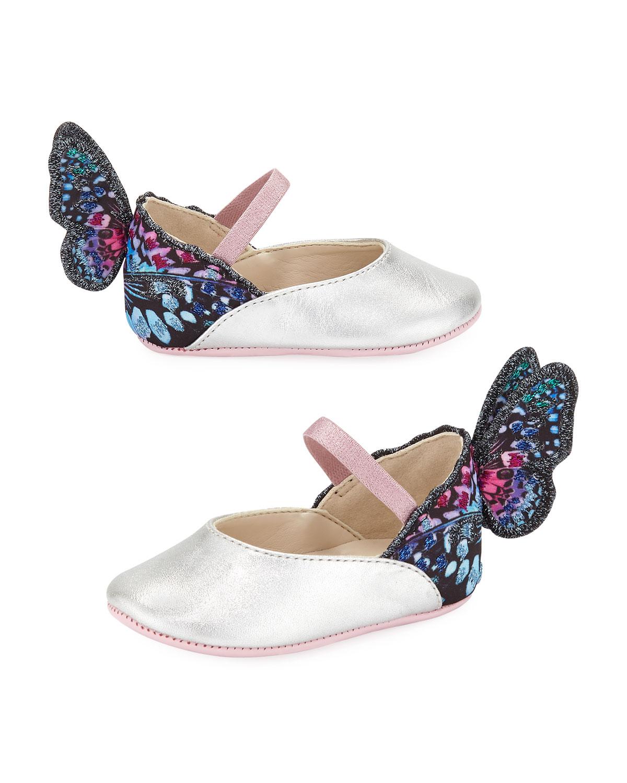 Chiara LeatherTrim Butterfly Mary Jane Flats Baby