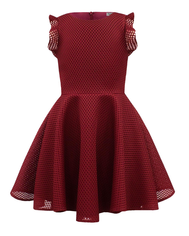 Ruffle-Trim Lattice Scuba Mesh Fit-&-Flare Dress, Size 10-16