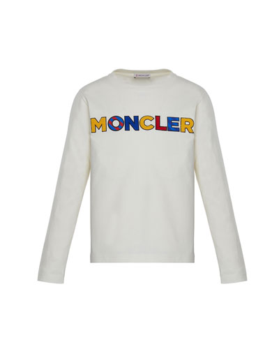 Long-Sleeve Tee  w/ Multicolor Logo, White, Size 8-14