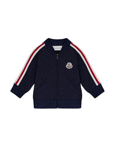 Stripe-Sleeve Zip-Up Cardigan, Navy, Size 12M-3T
