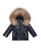 Moncler K2 Hooded Fur-Trim Puffer Jacket, Navy, Size