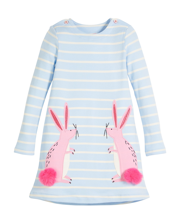 Kaye Long-Sleeve Striped Dress w/ Rabbit Appliques, Size 2-6