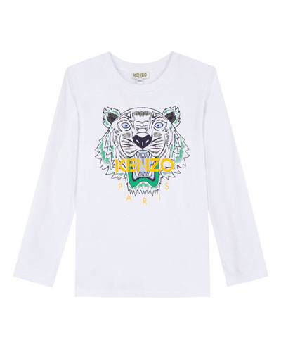 Long-Sleeve Tiger Icon Tee, Size 2-6