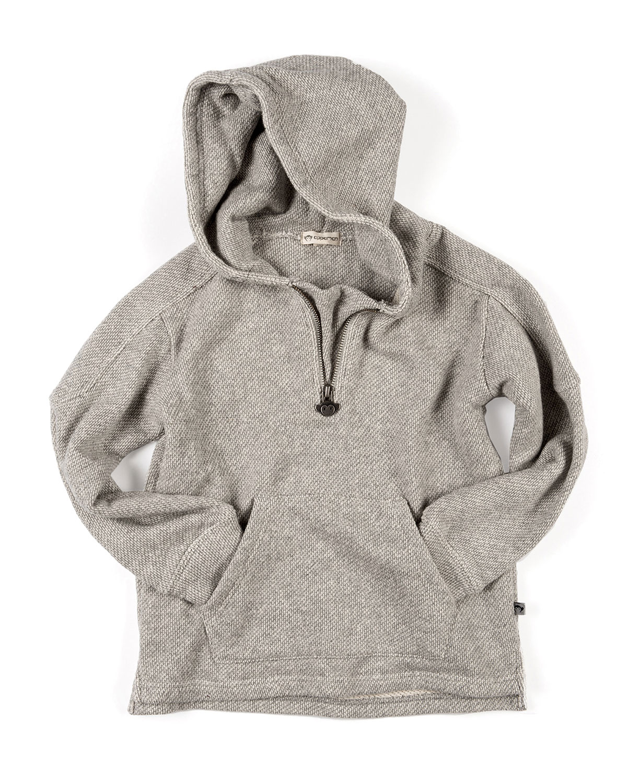 Half-Zip Herringbone Knit Hoodie, Size 2-10